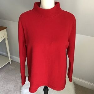 🌹Talbots Cozy Red Fleece Top Size XL